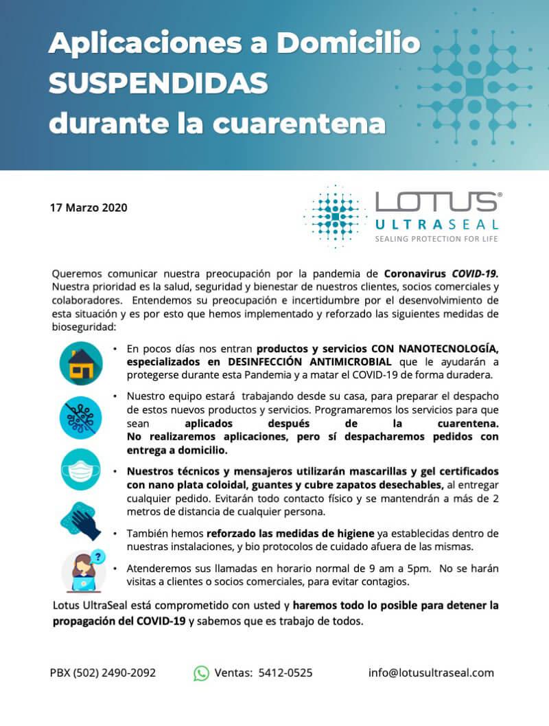 Comunicado Lotus UltraSeal sobre Covid-19